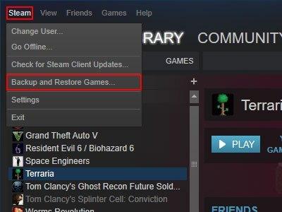 Backup Steam Games Client Menu