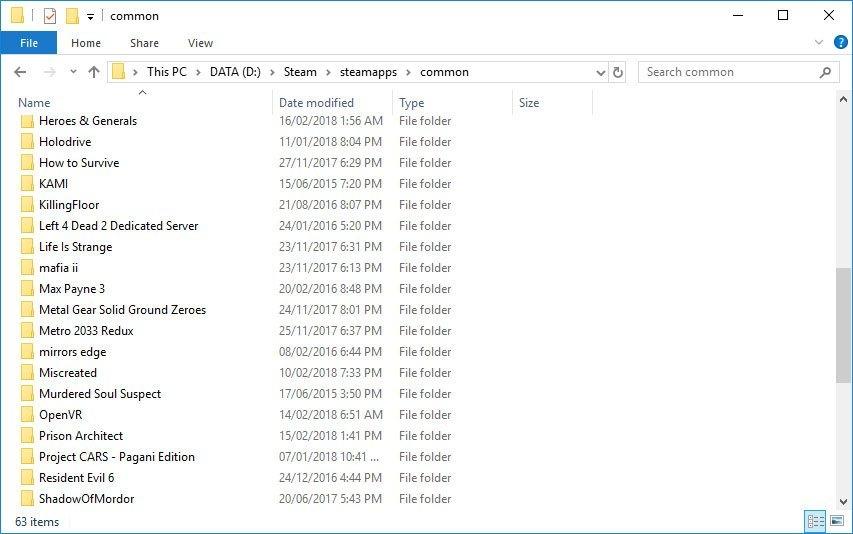 Backup Steam Games Common Folder