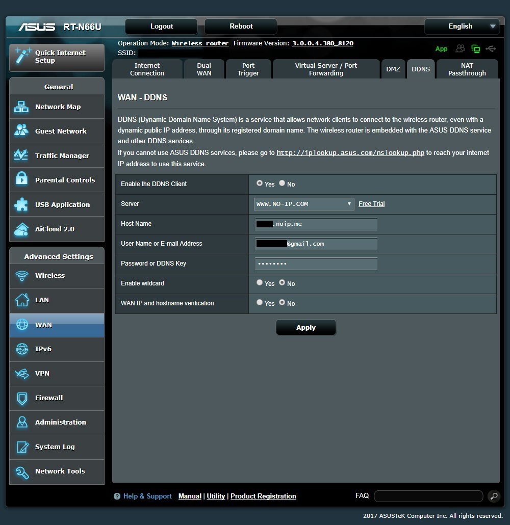 NO-IP ASUS RT-N66U Router Configuration