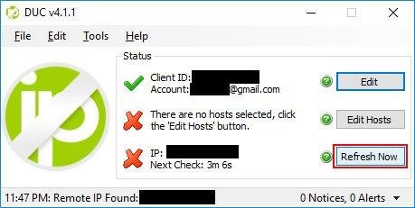 NO-IP Dynamic DNS Update Client Refresh IP Address