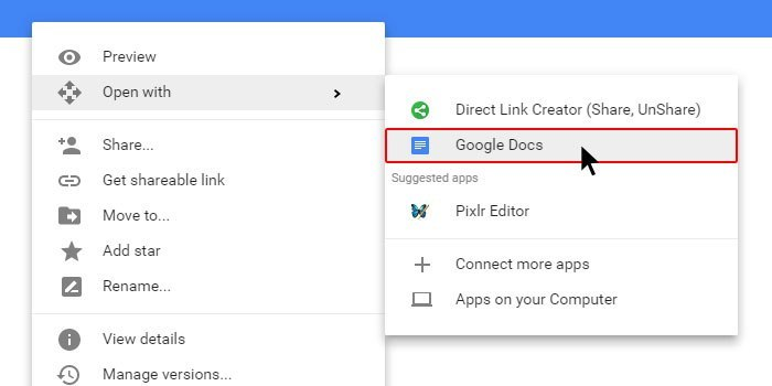Google Drive Feature Open File With Google Docs