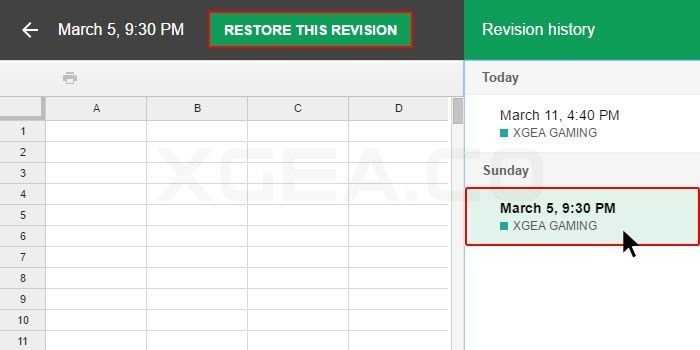 Google Drive Feature Restore Revision History